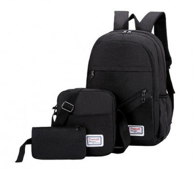 Набор рюкзак с сумкой и клатчем тканевой черный