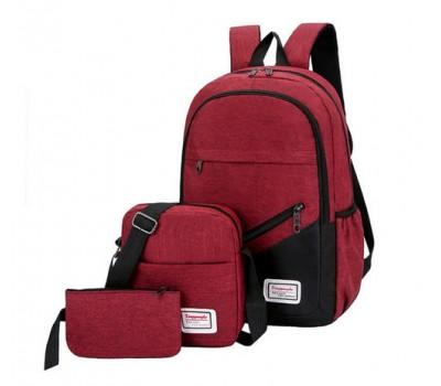 Набор рюкзак с сумкой и клатчем тканевой красный