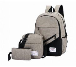 Набор рюкзак с сумкой и клатчем тканевой серый