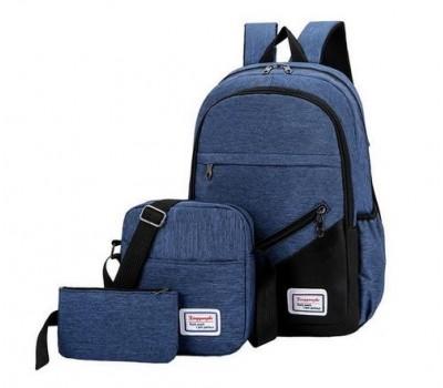 Набор рюкзак с сумкой и клатчем тканевой синий