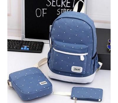 Набор рюкзак,сумка,косметичка в горошек голубой