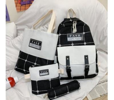 Набор рюкзак,сумка,косметичка,пенал в клетку черный