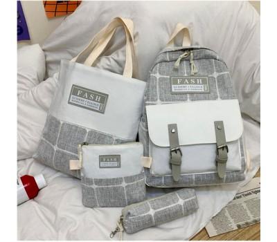 Набор рюкзак,сумка,косметичка,пенал в клетку серый