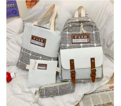 Набор рюкзак,сумка,косметичка,пенал в клетку коричневый
