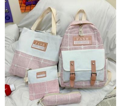 Набор рюкзак,сумка,косметичка,пенал в клетку розовый