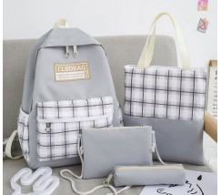 Набір з тканини рюкзак, сумка, косметичка, пенал сірий
