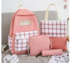 Набір з тканини рюкзак, сумка, косметичка, пенал рожевий