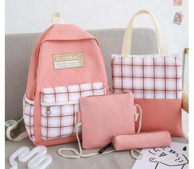 Набор тканевой рюкзак,сумка,косметичка,пенал розовый