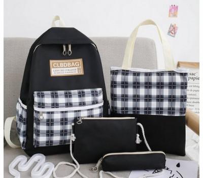 Набор тканевой рюкзак,сумка,косметичка,пенал черный