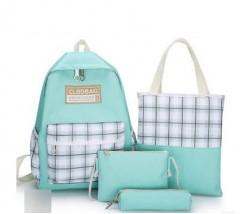 Набір з тканини рюкзак, сумка, косметичка, пенал м'ятний