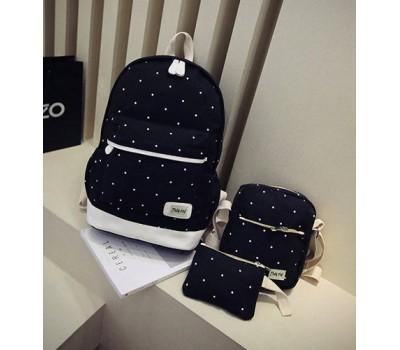 Набор рюкзак,сумка,косметичка в горошек черный