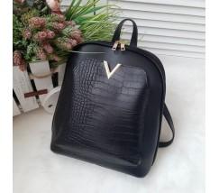 Вместительный рюкзак-сумка из экокожи черный Рептилия