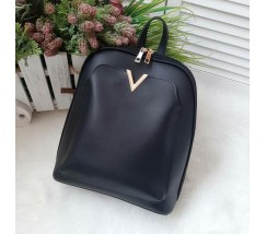 Вместительный рюкзак-сумка из экокожи черный