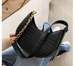 Женская сумка багет под кожу рептилии черная