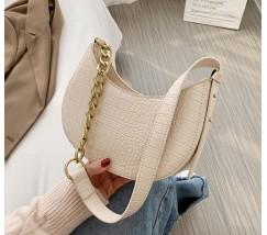 Женская сумка багет под кожу рептилии молочная