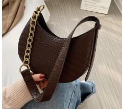 Женская сумка багет под кожу рептилии темно-коричневая