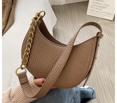 Женская сумка багет под кожу рептилии светло-коричневая