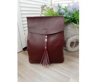 Жіночий якісний рюкзак зі шкірозамінника бордовий