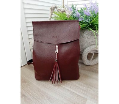Женский качественный рюкзак из кожзама бордовый