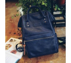 Великий жіночий рюкзак-сумка синій