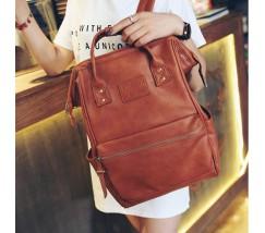 Большой женский рюкзак-сумка коричневый
