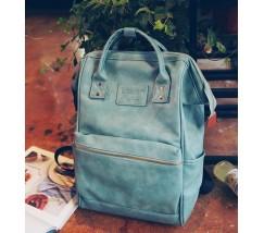 Большой женский рюкзак-сумка голубой