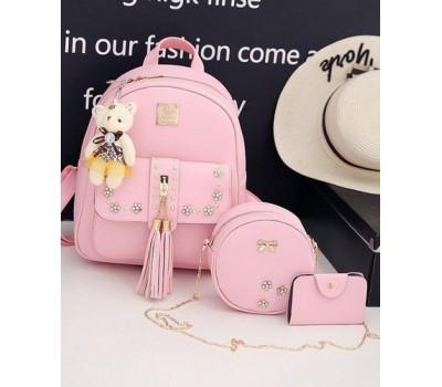 Набор 3в1 рюкзак, сумочка, визитница розовый