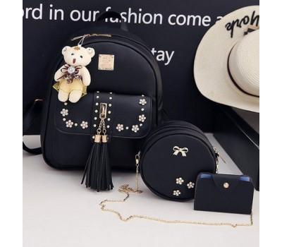 Набор 3в1 рюкзак, сумочка, визитница черный