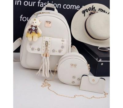 Набор 3в1 рюкзак, сумочка, визитница бежевый