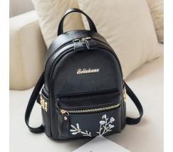 Женский черный рюкзак с цветочным узором