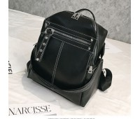 Объемный женский рюкзак-сумка черный