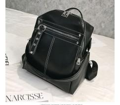 Об'ємний жіночий рюкзак-сумка чорний