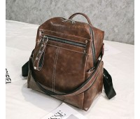 Объемный женский рюкзак-сумка коричневый