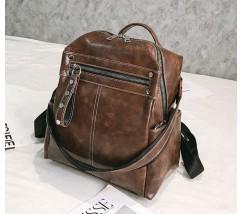 Об'ємний жіночий рюкзак-сумка коричневий
