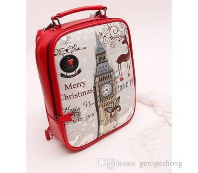 """Стильный рюкзак с рисунком """"Лондон"""" красный"""