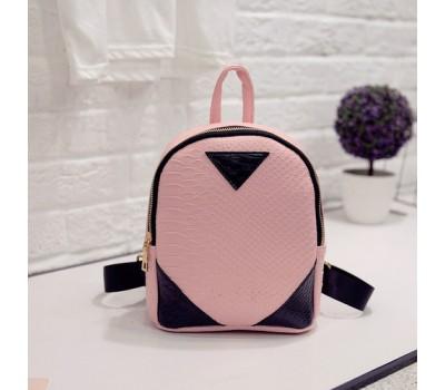Маленький рюкзак под кожу змеи розовый