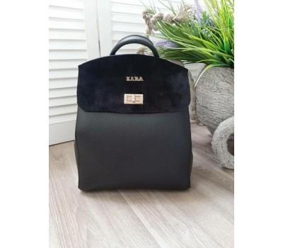 Красивый рюкзак-сумка с замшевой вставкой черный