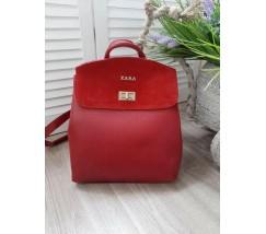 Гарний рюкзак-сумка з замшевою вставкою червоний