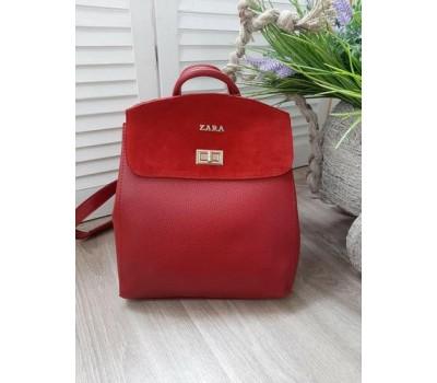 Красивый рюкзак-сумка с замшевой вставкой красный