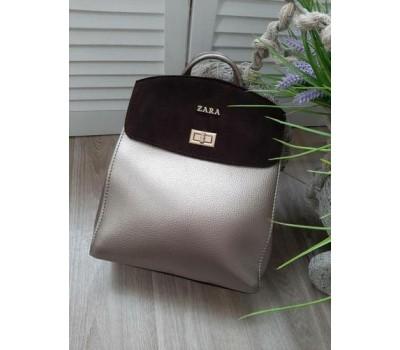 Красивый рюкзак-сумка с замшевой вставкой бронзовый