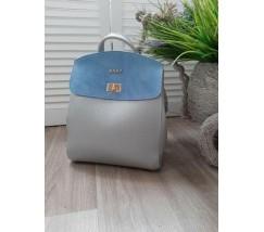 Гарний рюкзак-сумка з замшевою вставкою сріблясто-блакитний