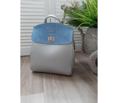 Красивый рюкзак-сумка с замшевой вставкой серебристо-голубой