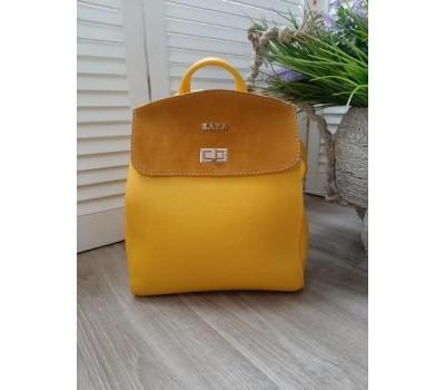 Красивый рюкзак-сумка с замшевой вставкой желтый