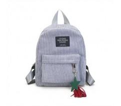 Жіночий рюкзак з тканини вельветовий сірий