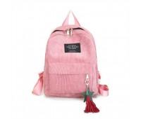 Жіночий рюкзак з тканини вельветовий рожевий