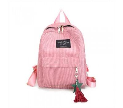 Женский рюкзак из ткани вельветовый розовый