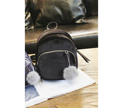 Маленький бархатный рюкзак черный