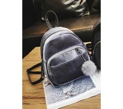 Маленький бархатный рюкзак серый