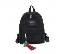 Жіночий рюкзак з тканини вельветовий чорний