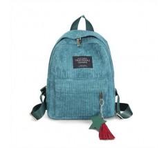 Женский рюкзак из ткани вельветовый зеленый